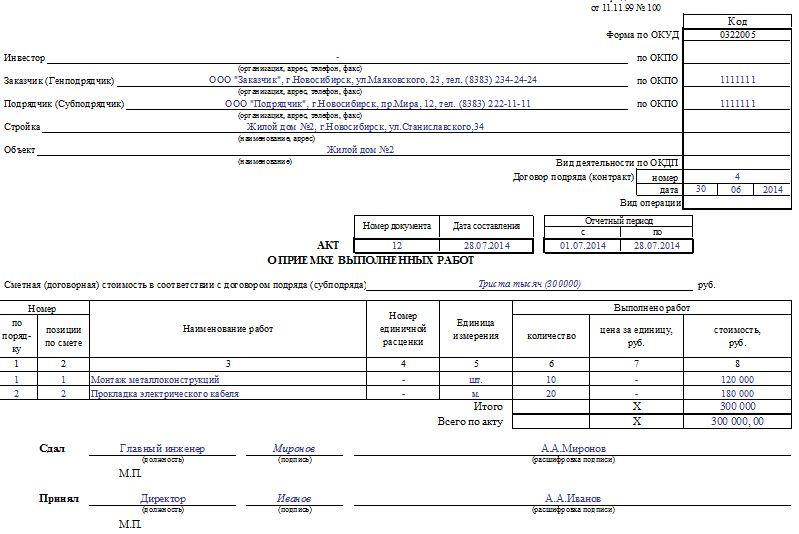 Акт выполненных работ бухгалтерское обслуживание образец новый оквэд при регистрации ооо