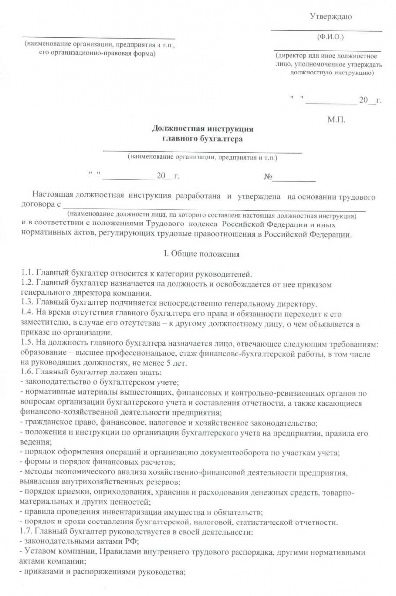 должностная инструкция генерального директора образец 2019