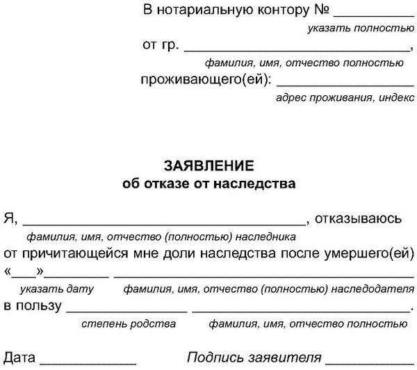 Образец написания заявления об отказе от наследства