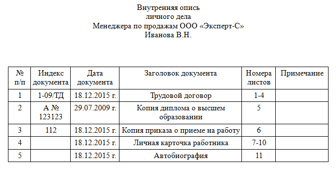 копии документов в личном деле