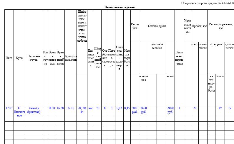Бланк накопительная ведомость данных путевых листов