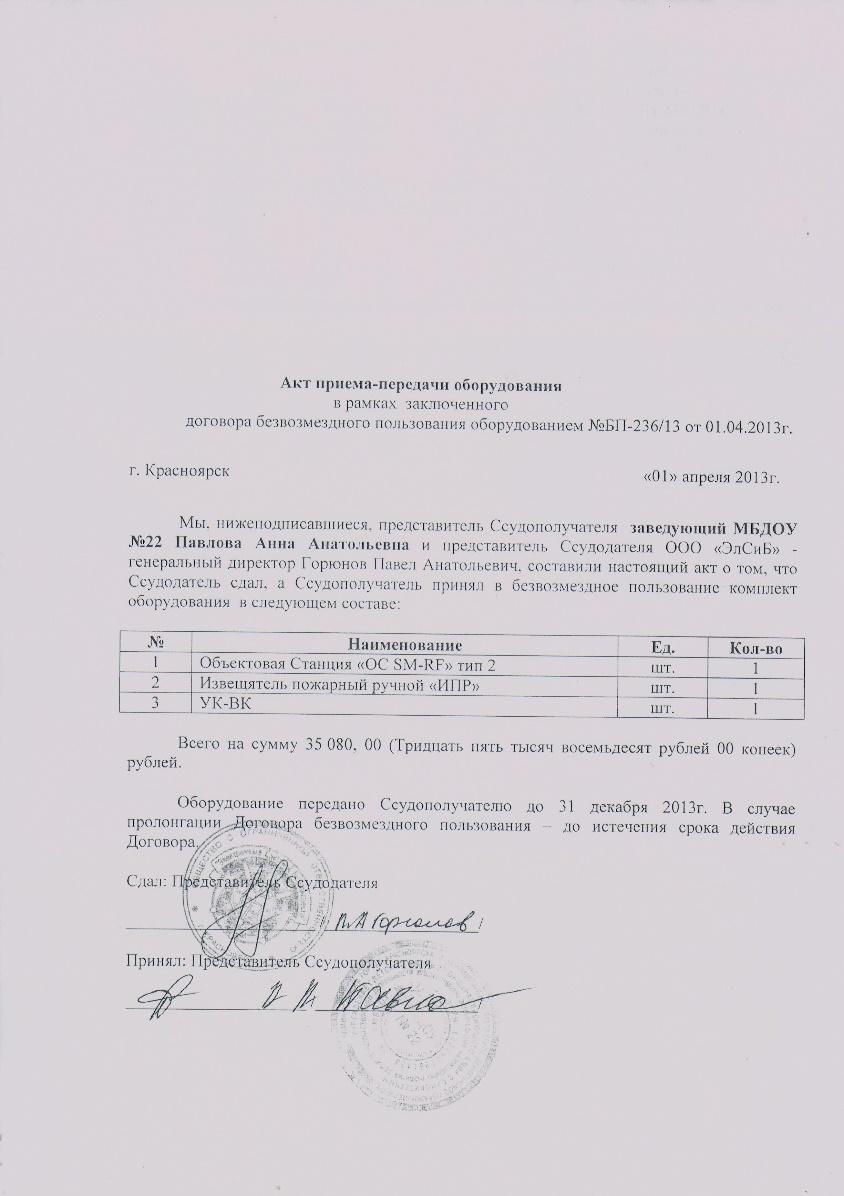 акт приема передачи оборудования в аренду украина