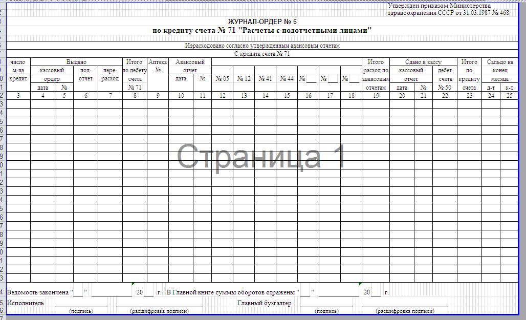Журнал ордер 6 в бухгалтерии оплатить госпошлину за регистрацию ооо саратов
